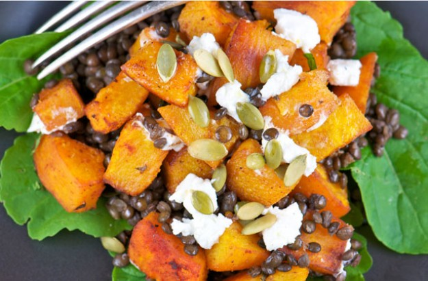 Honey roasted butternut squash and puy lentil salad