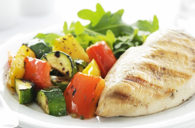 Healthy grilled chicken with courgettes and peppers