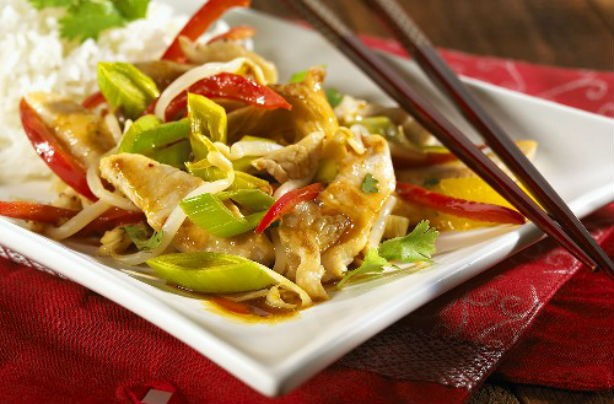 Turkey orange and leek stir fry