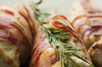 Mincemeat stuffed chicken breast wrapped in bacon