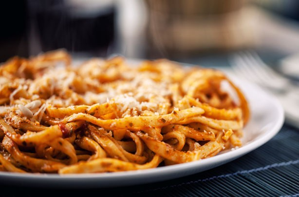Red pesto tagliatelle
