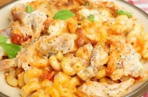 Chicken and tomato pasta bake