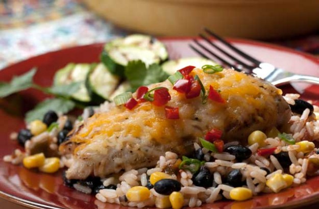 Cheesy topped chicken with Mexican rice