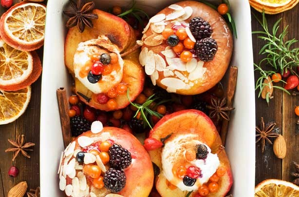 Fruit and nut baked apples