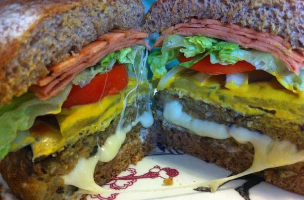 Vegetarian Juicy Lucy burger