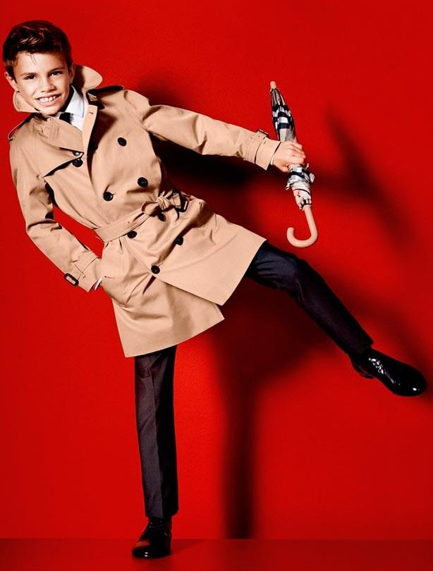 Romeo Beckham modelling for Burberry