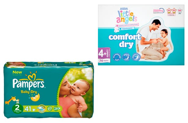 Asda Little Angels comfort dry and Pampers Baby-Dry nappies