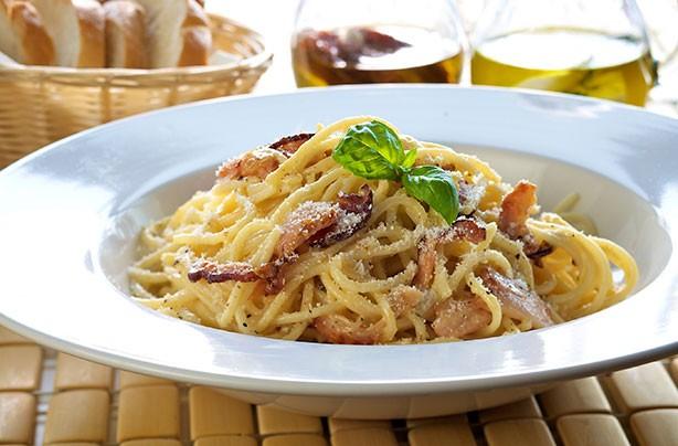 Spaghetti Carbonara with Bacon and Mushroom