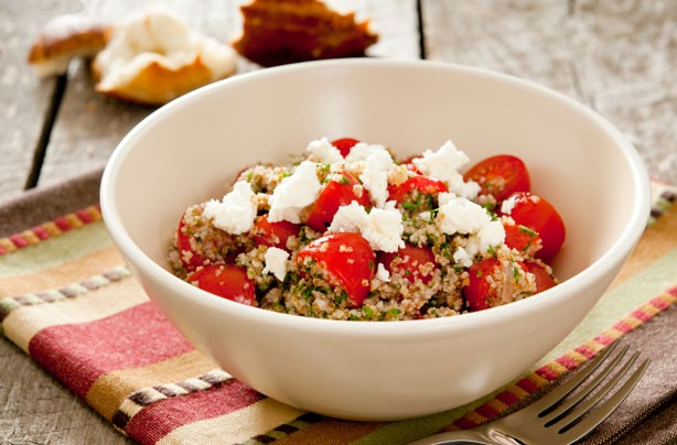 Goats cheese and tomato bulgur wheat salad