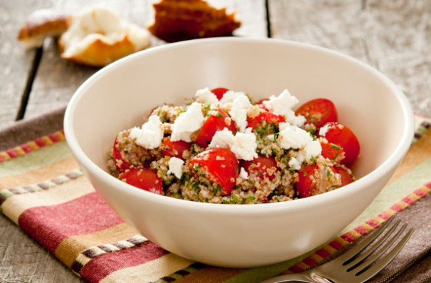 Goats cheese and tomato bulgar wheat salad