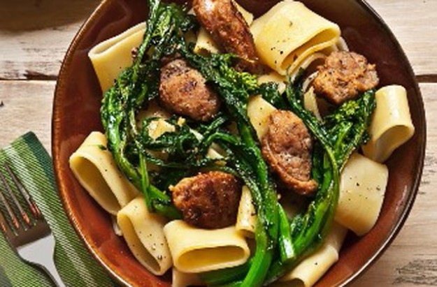 Sausage and fine stem broccoli with pasta ribbons