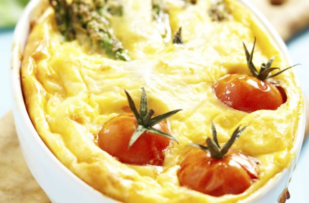 Asparagus and baby tomato gratin