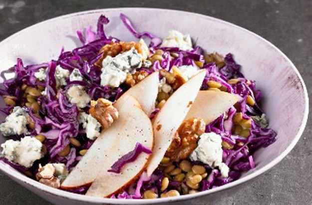 Blue cheese lentil and pear salad