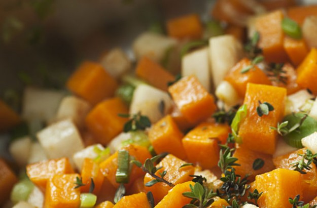 Pan-cooked celeriac and squash with thyme