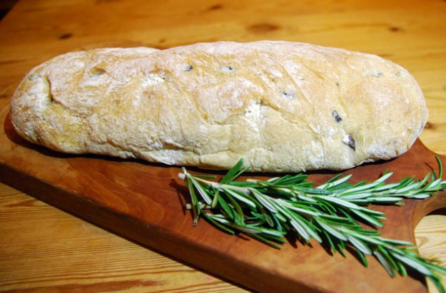 Black olive and rosemary bread
