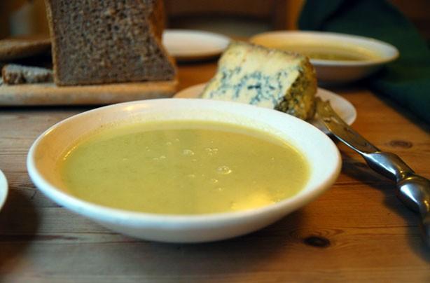 Celeriac, cider and Stilton soup