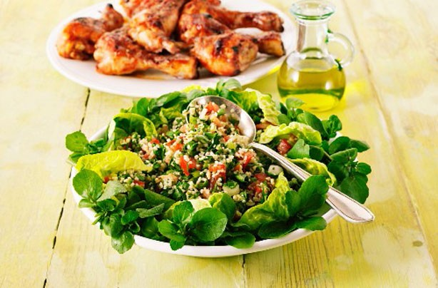 BBQ chicken drumsticks with tabbouleh