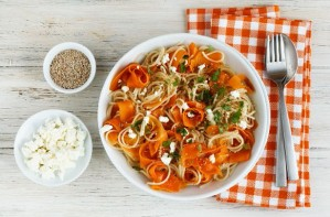 Carrot ribbon spaghetti