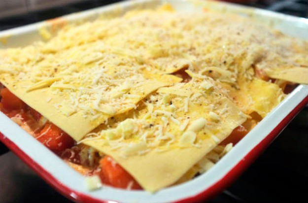 Roasted root vegetable lasagne