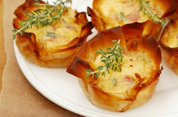 Bacon and spring onion filo tarts