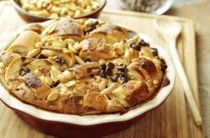 Peanut bread and butter pudding