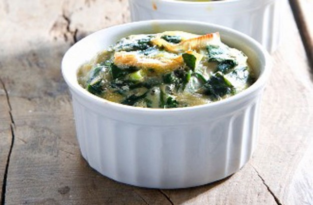 Spinach, onion and egg bake