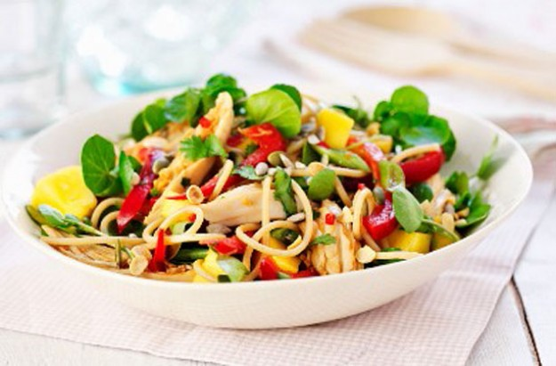 Chicken and pepper pasta salad
