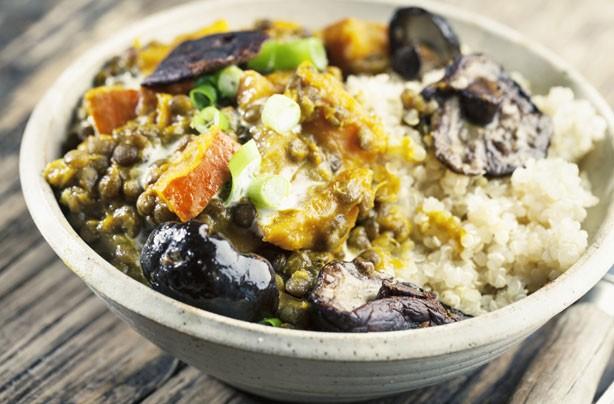 Lentil squash and mushroom stew