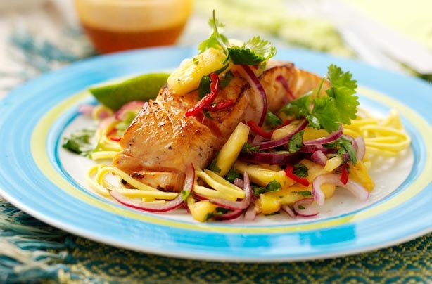 Pan-fried Thai salmon and pineapple salsa