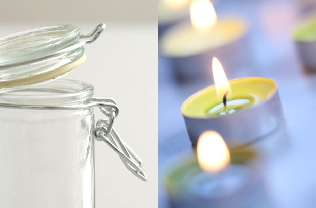 Jam jars as tea light holders