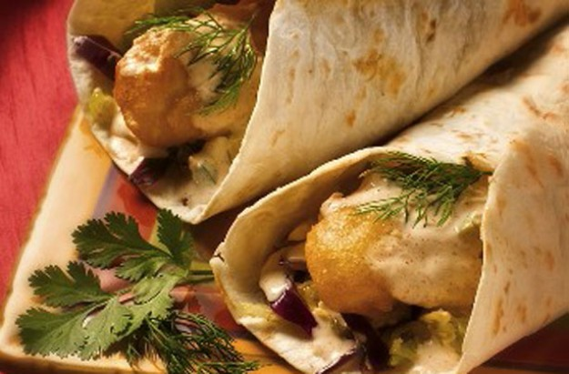 Fish finger and dill mayo wrap