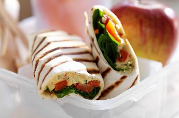 Hummus and tomato wraps