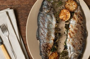 Lemon and parsley stuffed trout