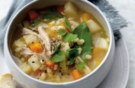 Root and barley soup
