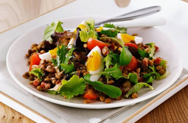 Lentil and pancetta warm salad