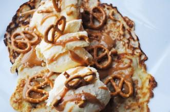 Salted caramel and pretzel pancakes