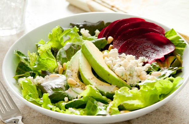 Beet salad with avocado and blue cheese