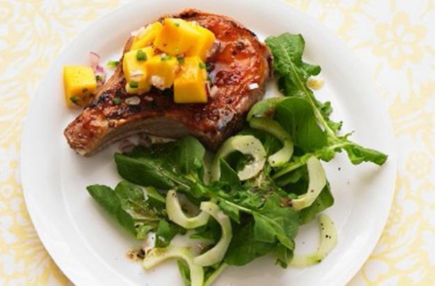 Pork chops with mango salsa