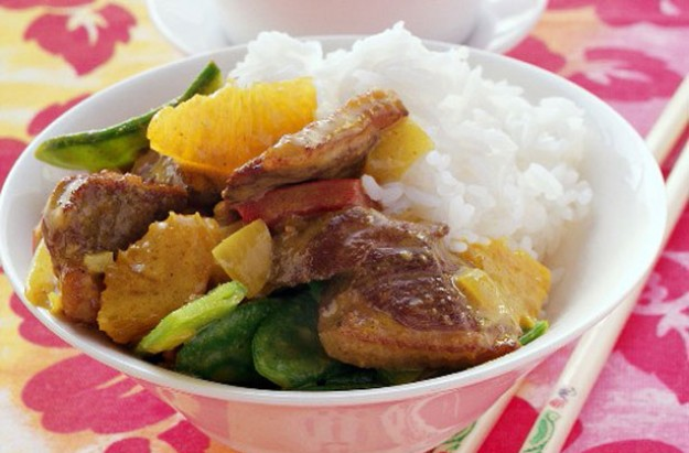 Stir-fried duck with orange