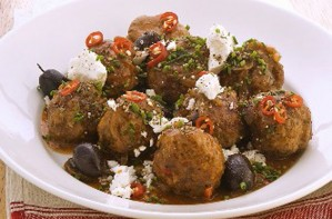 Lamb meatballs with olives and feta