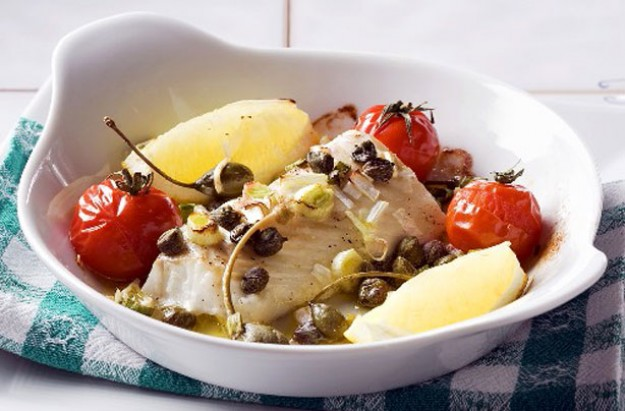 Baked cod with capers