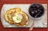 Scotch pancakes with blueberries and thyme butter