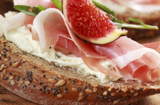 Prosciutto and fig open sandwich
