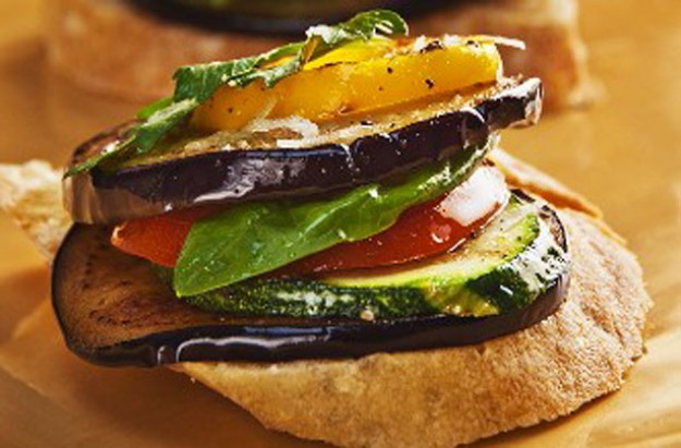 Grilled aubergine and pepper crostini