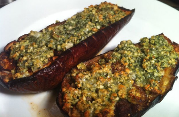 Aubergines with basil pesto crust