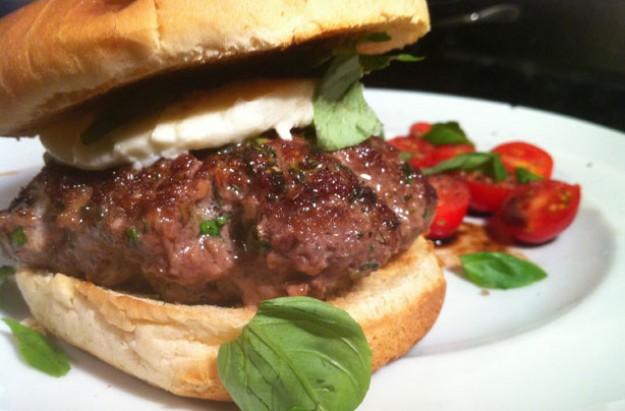 Basil and mozzarella cheeseburger