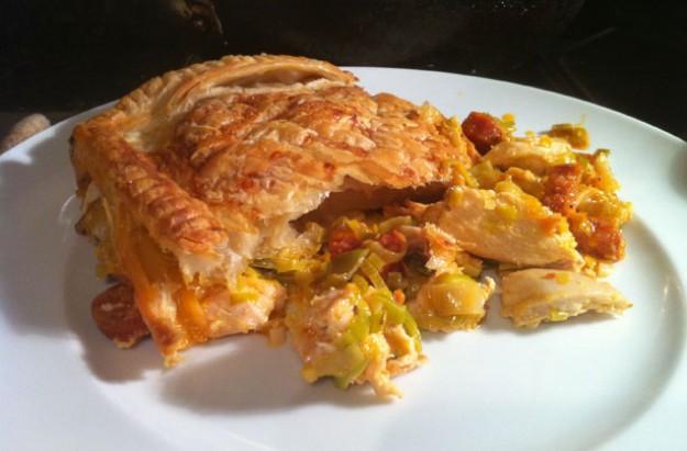 Chicken and chorizo pie