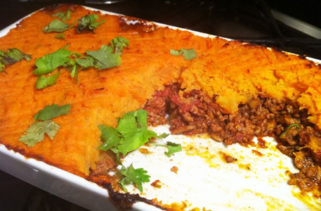 Indian Shepherd?s pie with sweet potato topping