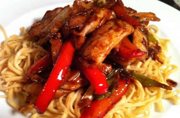 Twice-cooked Chinese pork belly with red peppers