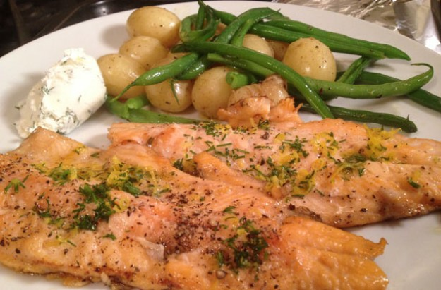 Rainbow trout fillets with lemon and mascarpone dressing